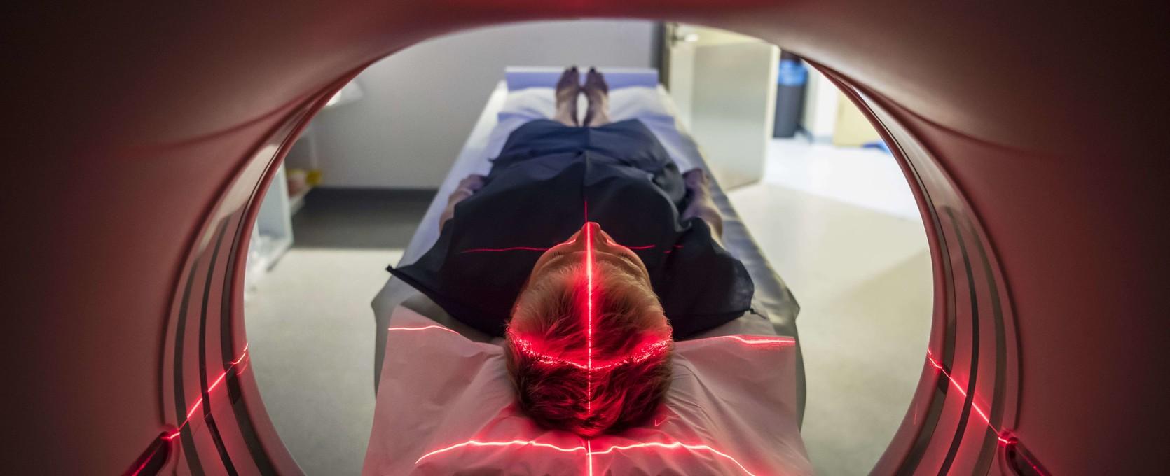 Patient entering a medical device scanner