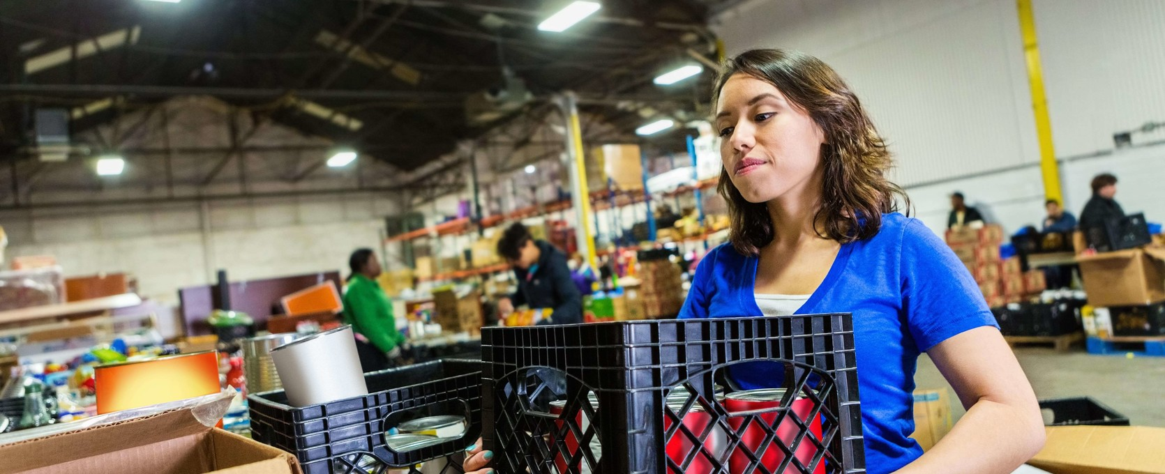 Volunteer for a tax exempt entity prepares food donations